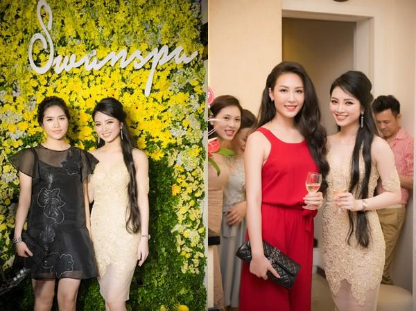 Thuỳ Dương - vợ Minh Tiệp và thí sinh Hoa hậu Việt Nam 2010 Thuỳ Trang (váy đỏ) cũng có mặt chúc mừng Hoa hậu Ngọc Anh.