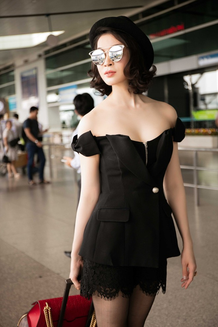 MC Thanh Mai khoe dáng chuẩn ở sân bay