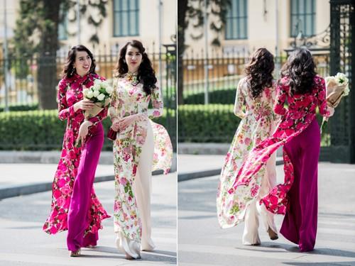 Cặp mẫu song sinh Thư Huyền Huyền Thư tái xuất với áo dài, khoe vóc dáng gợi cảm