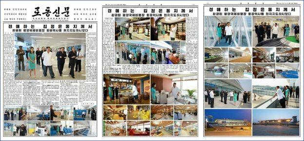 Những hình ảnh về nhà ga sân bay mới ở Bình Nhưỡng trên báo Rodong Sinmun