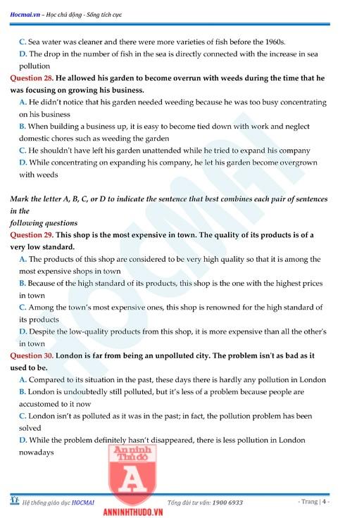 Tự đánh giá trước Kỳ thi THPT Quốc gia 2018 (4): Kiểm tra môn Tiếng Anh & Đáp án môn Hóa học ảnh 6