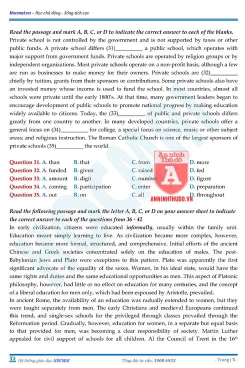 Tự đánh giá trước Kỳ thi THPT Quốc gia 2018 (4): Kiểm tra môn Tiếng Anh & Đáp án môn Hóa học ảnh 7