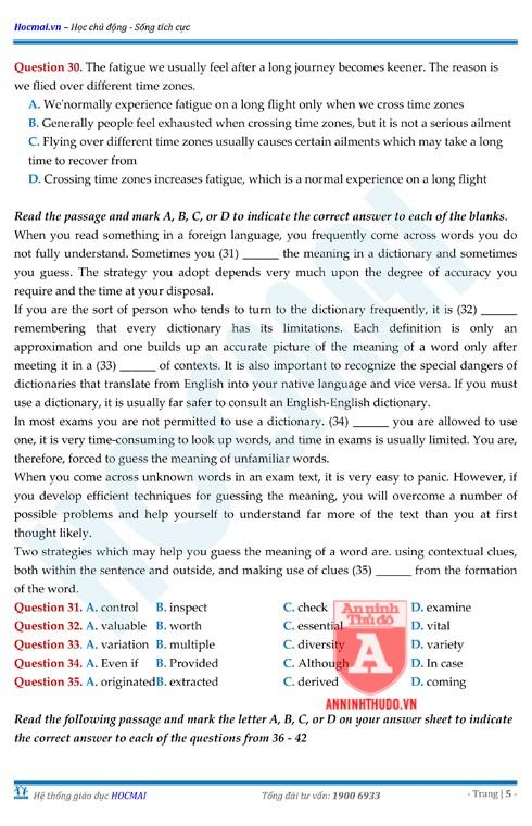 Tự đánh giá trước Kỳ thi THPT Quốc gia 2018 (4): Kiểm tra môn Tiếng Anh & Đáp án môn Hóa học ảnh 15