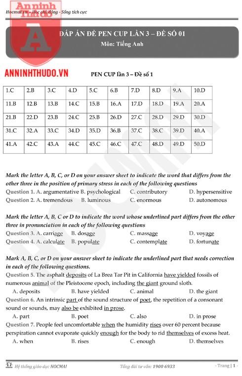 Tự đánh giá trước Kỳ thi THPT Quốc gia 2018 (5): Kiểm tra các môn Sinh học, KHXH & Đáp án môn Tiếng Anh