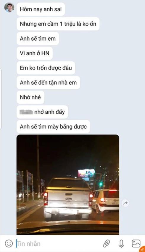 Một phần đoạn tin nhắn đòi tiền gây phẫn nộ của người đàn ông đâm xe