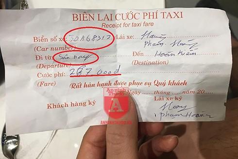 Tờ biên lai cước phí với thông tin không chính xác do lái xe taxi viết