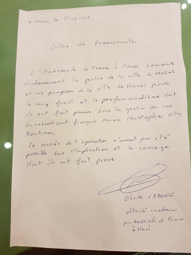 Lá thư cảm ơn xúc động, ý nghĩa mà đại diện Đại sứ quán Pháp gửi tới CATP Hà Nội