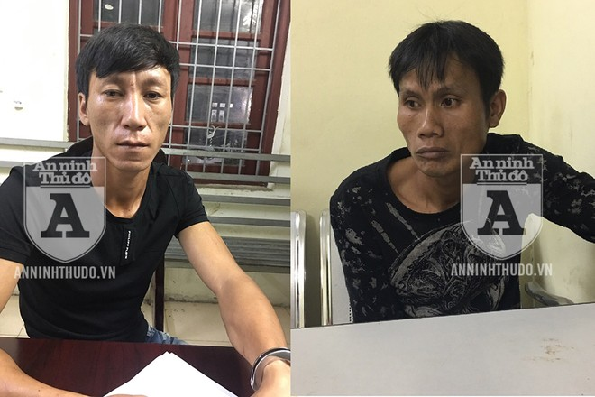 Đối tượng Tùng (trái) và Bon bị Cảnh sát 141 chặn giữ
