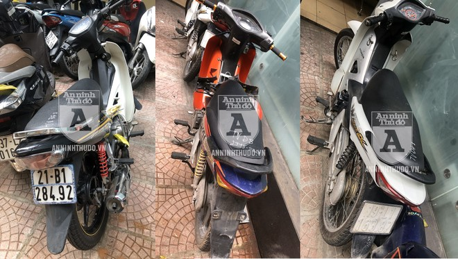 Cảnh sát đã kịp thời thu hồi 3 chiếc xe máy là tang vật trong 3 vụ cướp do Lực gây ra
