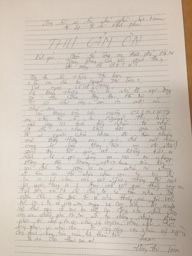 Lá thư cảm ơn của gia đình cụ Liên gửi tới tổ công tác