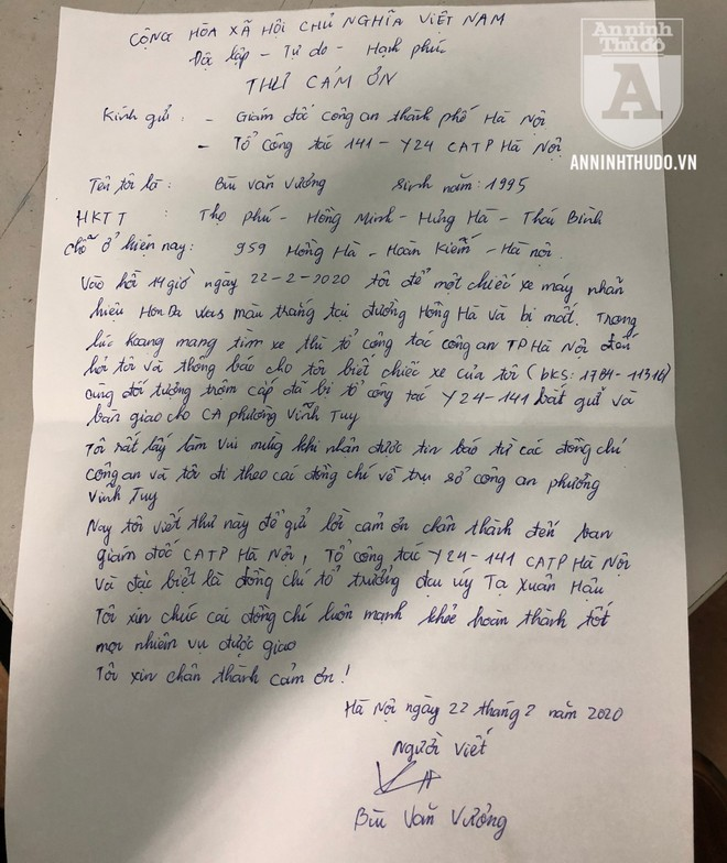 Lá thư cảm ơn chân thành được chủ xe máy gửi tới tổ công tác