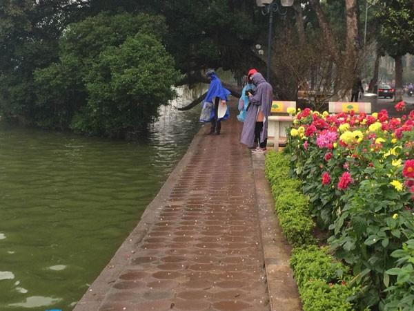 Nhiều người mặc áo mưa đi thả cá phóng sinh
