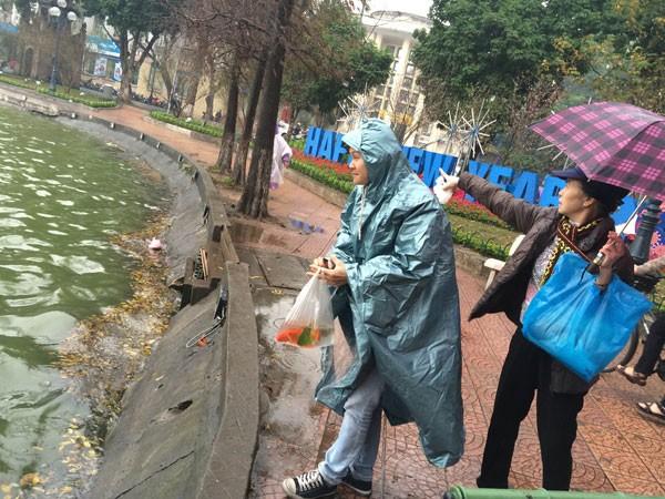 Người Hà Nội đội mưa lạnh thả cá chép tiễn ông Công, ông Táo ảnh 4