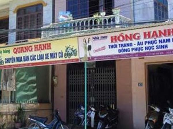 Cửa hàng xe máy Quang Hạnh ở 47 đường Tôn Đức Thắng, TP Đồng Hới nơi đối tượng giả danh đến mua rồi cướp xe