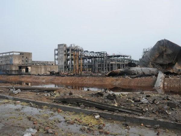 Hiện trường vụ nổ nhà máy hóa chất Tân Nguyên Sơn Đông ở thị trấn Điêu Khẩu, huyện Lợi Tân, TP Đông Dinh, tỉnh Sơn Đông (Trung Quốc)
