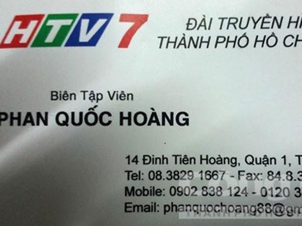 Danh thiếp của Hoàng ghi sai chữ Gmail