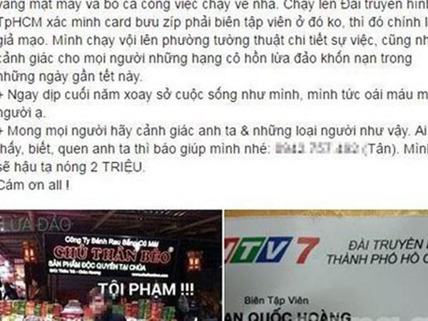 Các nạn nhân tố cáo Hoàng trên mạng xã hội facebook