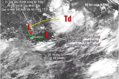 Hướng đi của áp thấp nhiệt đới
