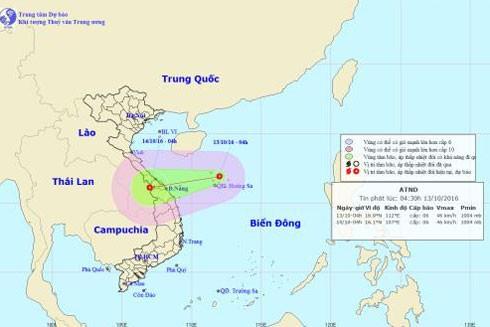 Hướng đi và vị trí áp thấp nhiệt đới