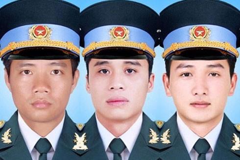 3 phi công tử nạn (từ trái sang): Dương Lê Minh, Đặng Đình Duy, Nguyễn Văn Tùng
