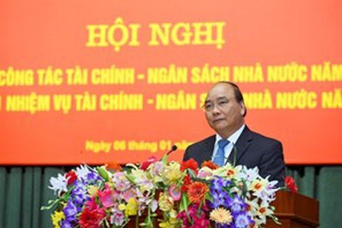 Thủ tướng Nguyễn Xuân Phúc phát biểu tại Hội nghị đánh giá công tác thực hiện nhiệm vụ tài chính ngân sách 2016 và triển khai nhiệm vụ 2017 của Bộ Tài chính