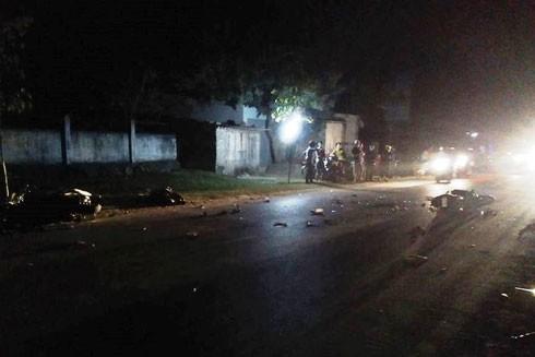 Hiện trường nơi xảy ra vụ tai nạn khiến 1 người chết, 3 người bị thương
