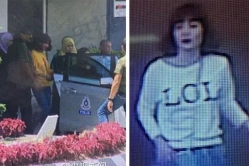 Nghi phạm Đoàn Thị Hương trên camera giám sát (ảnh phải) và khi bị bắt (ảnh trái)