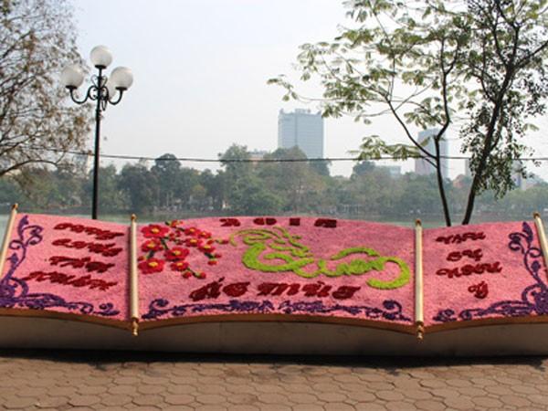 Bức tranh hoa bên hồ đã hoàn thành Không khí tấp nập trên phố Hàng Mã Đèn trang trí trên những tuyến phố chính cũng đã trang hoàng: Từ phố Tràng Tiền... ...cho đến phố Tràng Thi... ... phố Đinh Tiên Hoàng... ... và đường Điện Biên Phủ đều lung linh, rực rỡ Các trung tâm thương mại lớn cũng rực rỡ sắc xuân Cờ đỏ sao vàng tung bay từ phố lớn vào trong ngõ nhỏ Ngoài phố những cành đào, quất cũng được người dân tấp nập chở về nhà