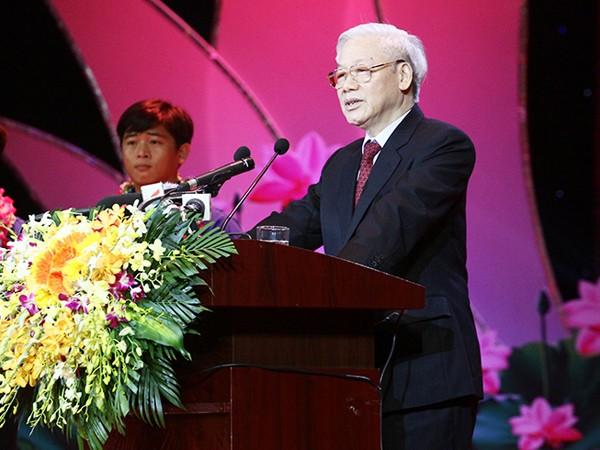 Tổng Bí thư Nguyễn Phú Trọng phát biểu tại Lễ tuyên dương thanh niên tiên tiến làm theo lời Bác