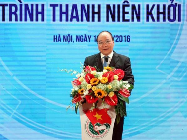 Thủ tướng Nguyễn Xuân Phúc phát biểu tại chương trình thanh niên khởi nghiệp