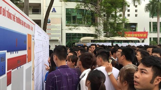Người lao động xếp hàng tham gia kỳ thi tiếng Hàn