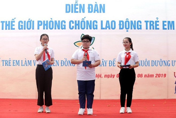 Các đại biểu trẻ em bày tỏ suy nghĩ về vấn đề lao động trẻ em tại diễn đàn