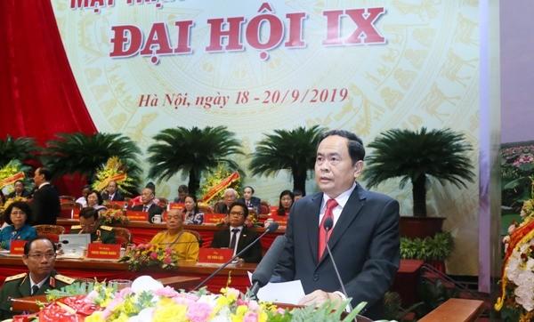Chủ tịch MTTQ Việt Nam Trần Thanh Mẫn phát biểu khai mạc Đại hội Ảnh: Phú Khánh