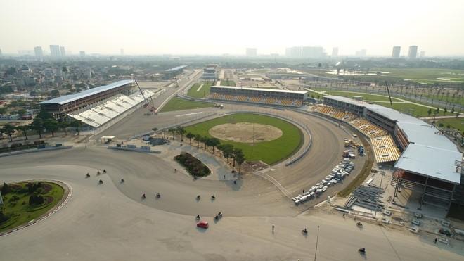 Sau gần 1 năm thi công tính từ tháng 3/2019, công trình đường đua F1 tại Hà Nội đã hoàn thiện 95%