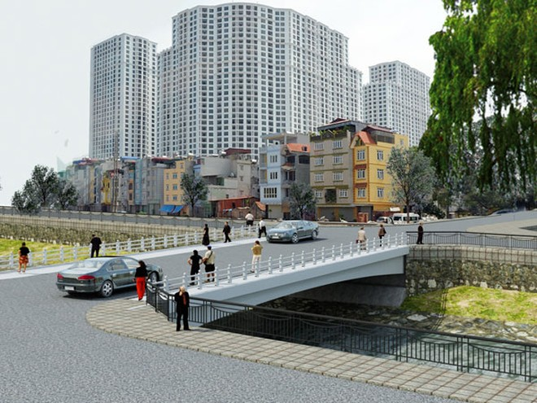 Phối cảnh cầu Quan Nhân nối Đô thị Royal City và Đường Láng sau khi hoàn thành