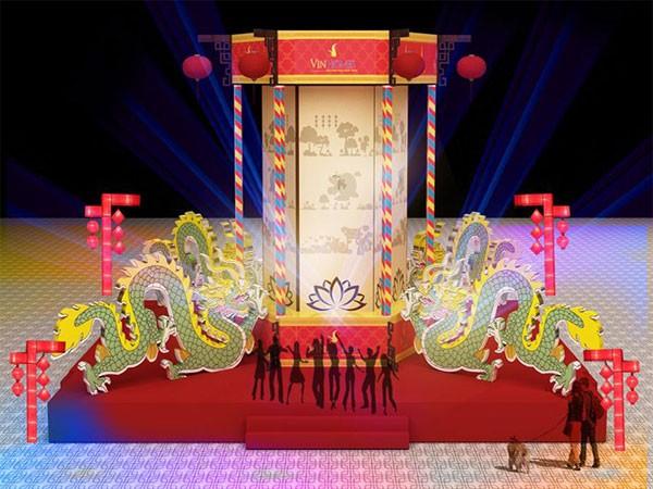 Mô hình chiếc đèn kéo quân khổng lồ với chiều cao 11,5m sẽ được đặt tại Quảng trường Vinhomes Times City.