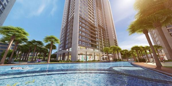 Không chỉ sở hữu không gian khoáng đãng với nhiều khu vườn cây xanh và đường dạo, Park 12 còn ghi dấu nhờ sở hữu bể bơi ngoài trời dài 80m.