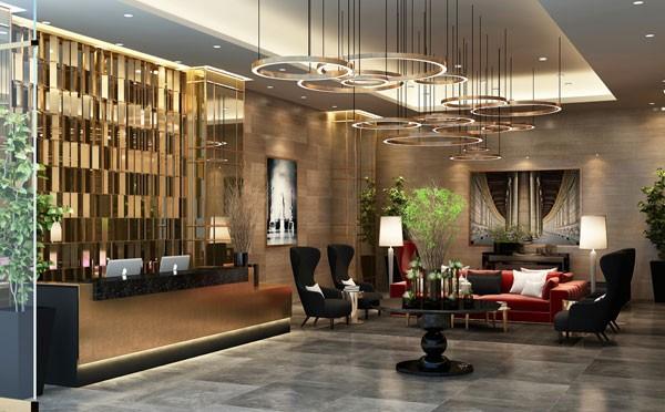 Sảnh chờ của Sun Grand City Thuy Khue Residence được thiết kế sang trọng như khách sạn 5 sao