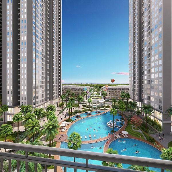 Tầm nhìn tuyệt đẹp ra bể bơi ngoài trời từ căn hộ A3 The Arcadia – Vinhomes Gardenia.