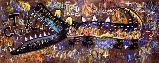 """Tác phẩm """"Giải phóng"""" (sơn dầu + Oil stick + Oil powder + Heavy body acrylic trên toan, 200 cm x 500 cm, 2015) của Lê Kinh Tài. Ảnh: Châu Hậu Hy."""