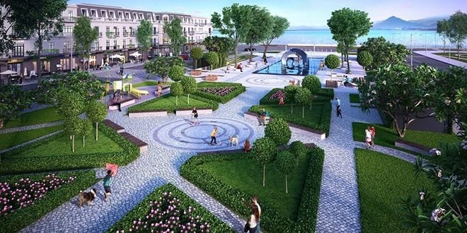 Quảng trường trung tâm có không gian thoáng mát cùng với nhiều tiện ích (Hình ảnh minh họa)