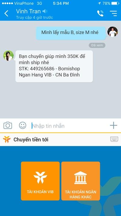 Chuyển tiền ngay khi đang chat trên mạng xã hội với MyVIB Social keyboard