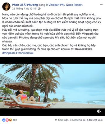 Ái Phương tỏ vẻ rất thích thú với sản phẩm clip trong kì nghỉ của mình và cũng không quên kêu gọi mọi người cùng tham gia cuộc thi thú vị này