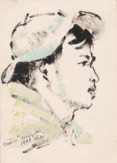 Chiến sỹ Trường Sơn 3, 1969 - Màu nước trên giấy, 13,5 x 10 cm - Họa sĩ Chu Thảo