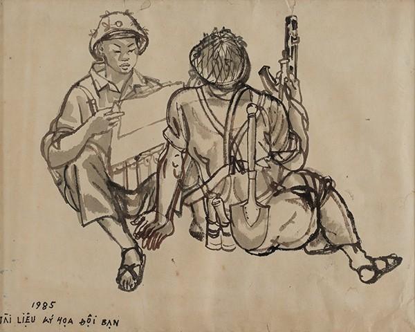 Tài liệu kí họa đội bạn, 1985 - Màu nước trên giấy, 39 x 31 cm - Họa sĩ Đào Đức
