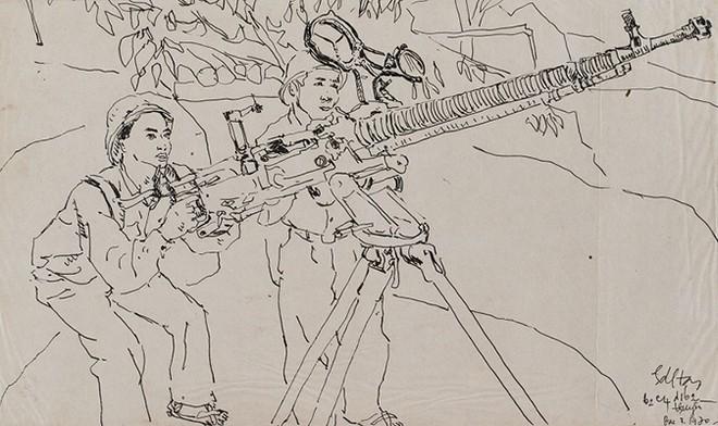 Không đề, 1970 - Bút sắt trên giấy, 35 x 21 cm - Họa sĩ Hoàng Đình Tài