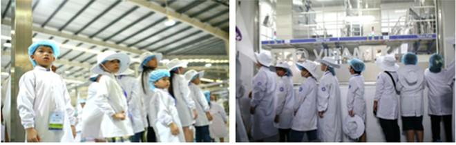 """Các vị khách sữa học đường """"nhí"""" chăm chú ngắm nhìn quy mô siêu nhà máy hiện đại. Lần đầu tiên những khách mời được tận mắt thấy công nghệ tiệt trùng UHT và công nghệ chiết rót vô trùng của Vinamilk."""