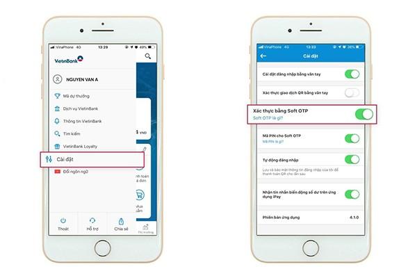 Khách hàng đăng ký Soft OTP trên VietinBank iPay Mobile (Mục cài đặt) để sử dụng giải pháp