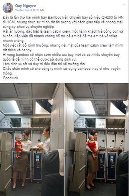 Bài viết chia sẻ khoảnh khắc đẹp của nữ tiếp viên hàng không Bamboo Airways đang được cộng đồng mạng chuyền tay nhau