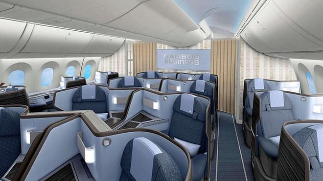 Thiết kế dự kiến khoang Thương gia Bamboo Airways trên dòng máy bay thân rộng Boeing 787-9 Dreamliner